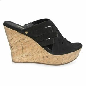 UGG Marta Black Wedges Slide Suede Sandal